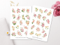 Preview: Pink Flowers Sticker Set