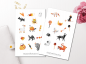 Mobile Preview: Halloween Animals Sticker Set
