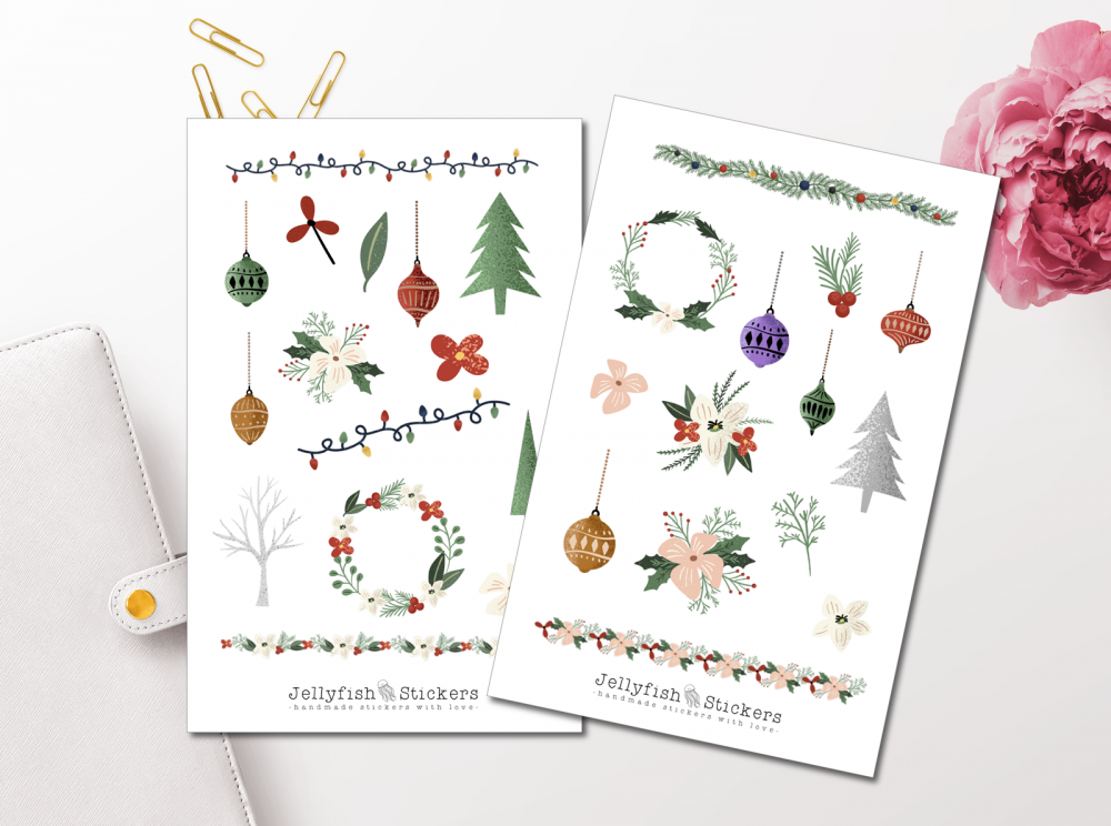 Christmas Flowers Sticker Set