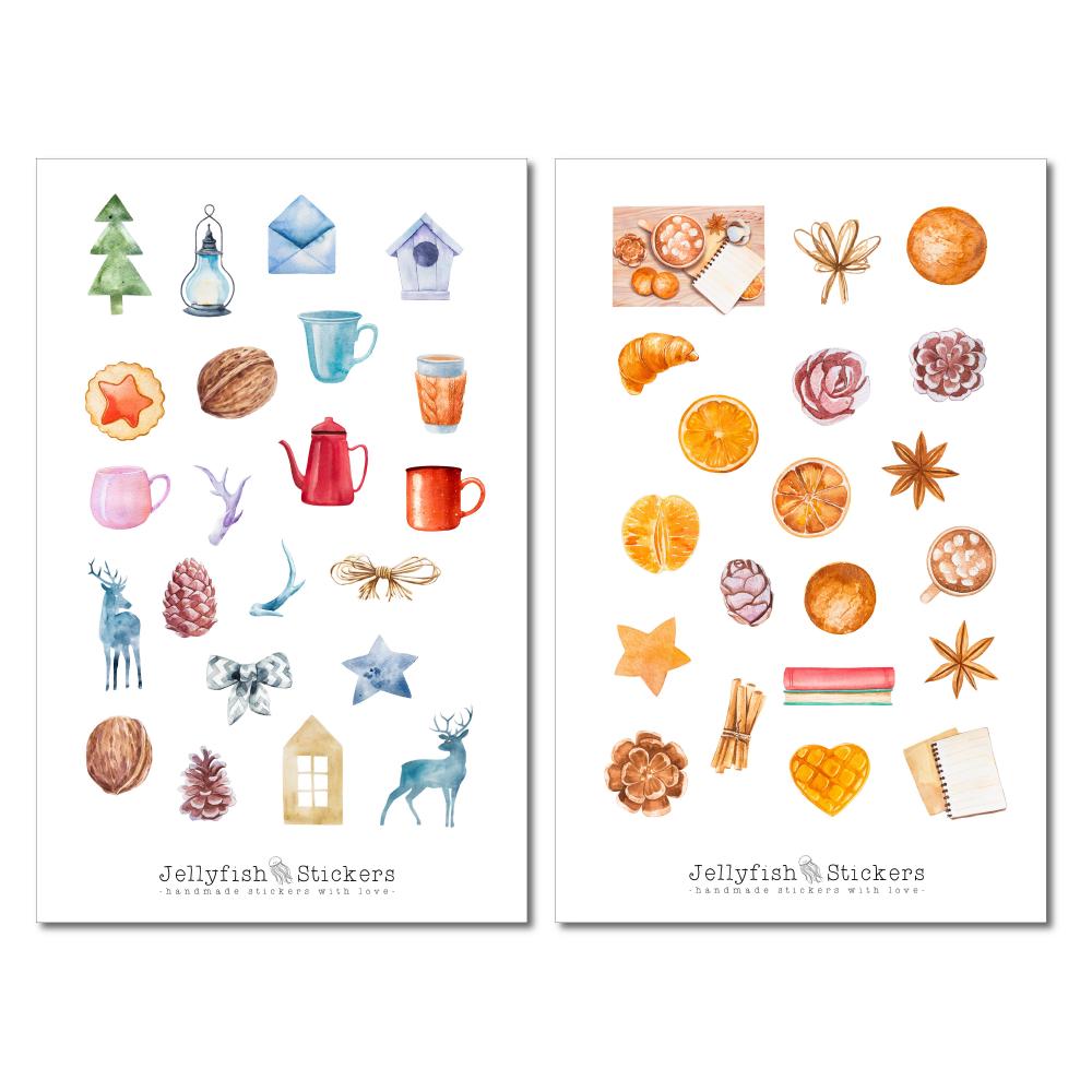 jellyfish stickers  winter blumen sticker set