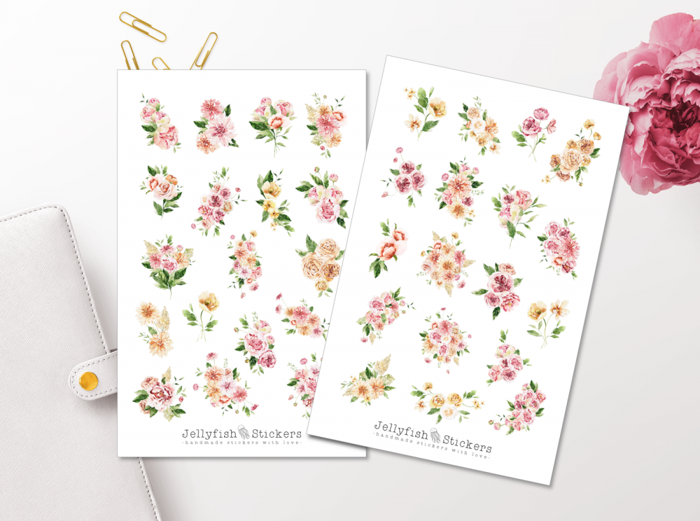 Pink Flowers Sticker Set