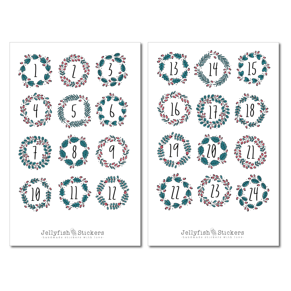 Advent Calendar Sticker Set