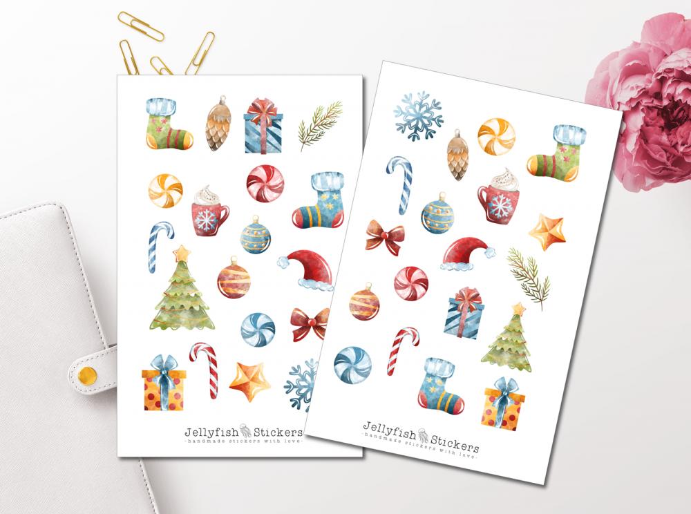 jellyfish stickers  weihnachten aquarell sticker set