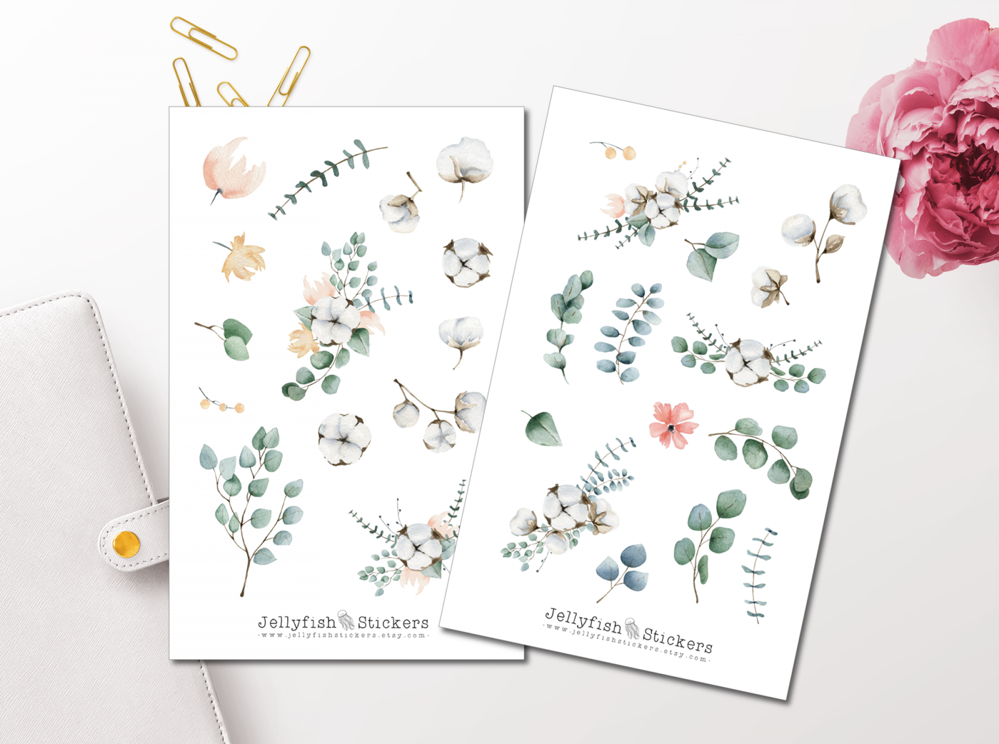 Eucalyptus and Cotton Sticker Set