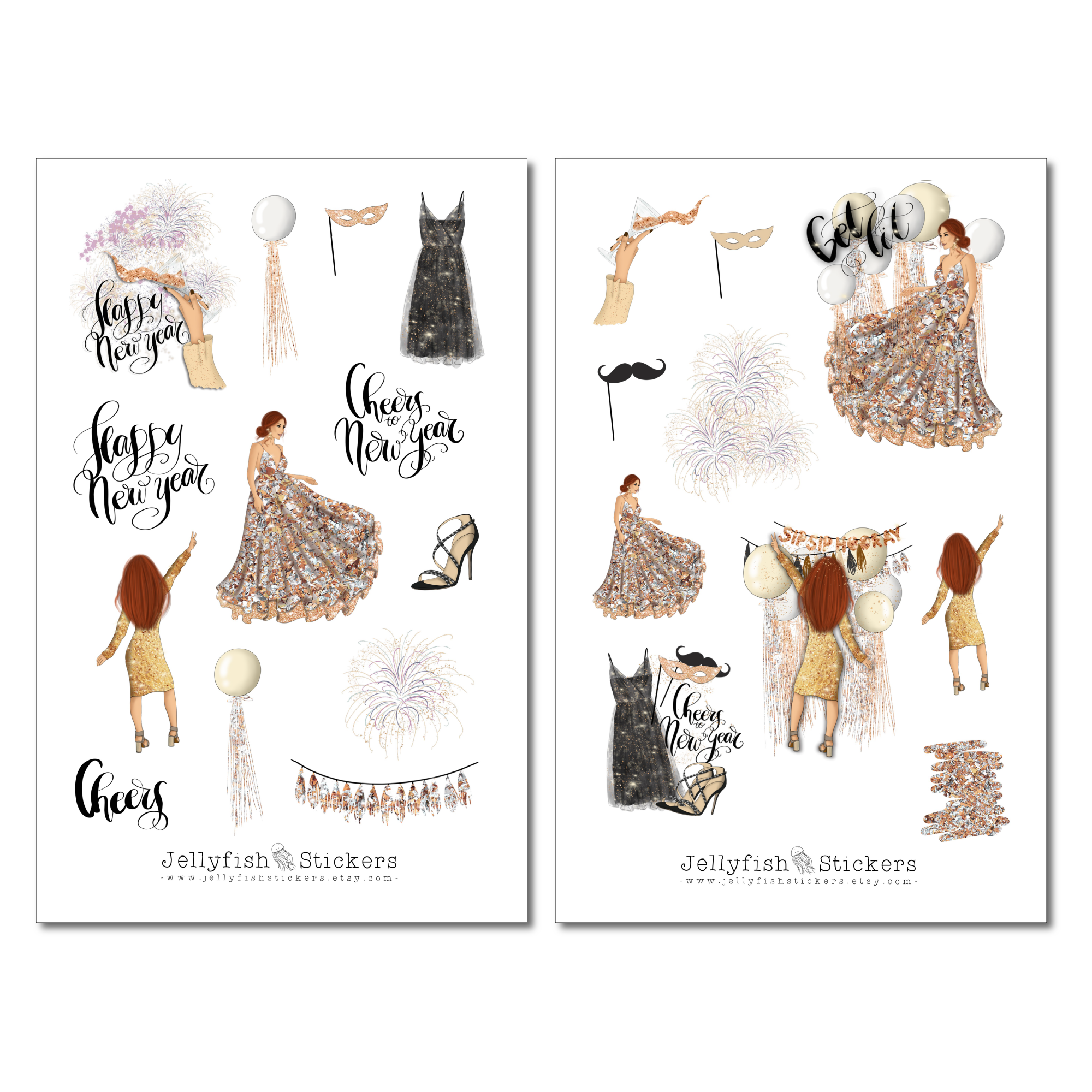 Girls New Years Sticker Set