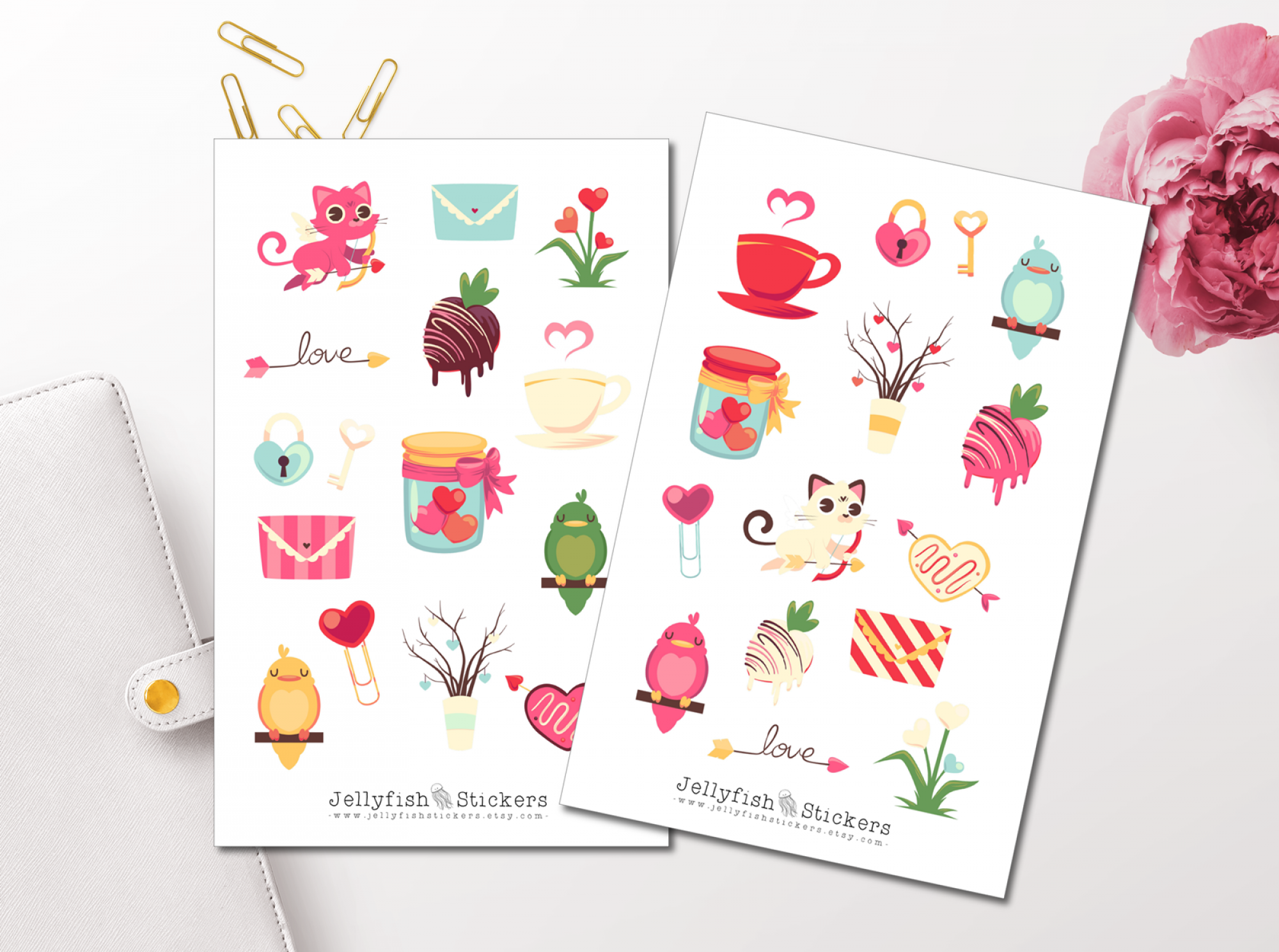 Valentine's Day Cat and Bird Sticker Set