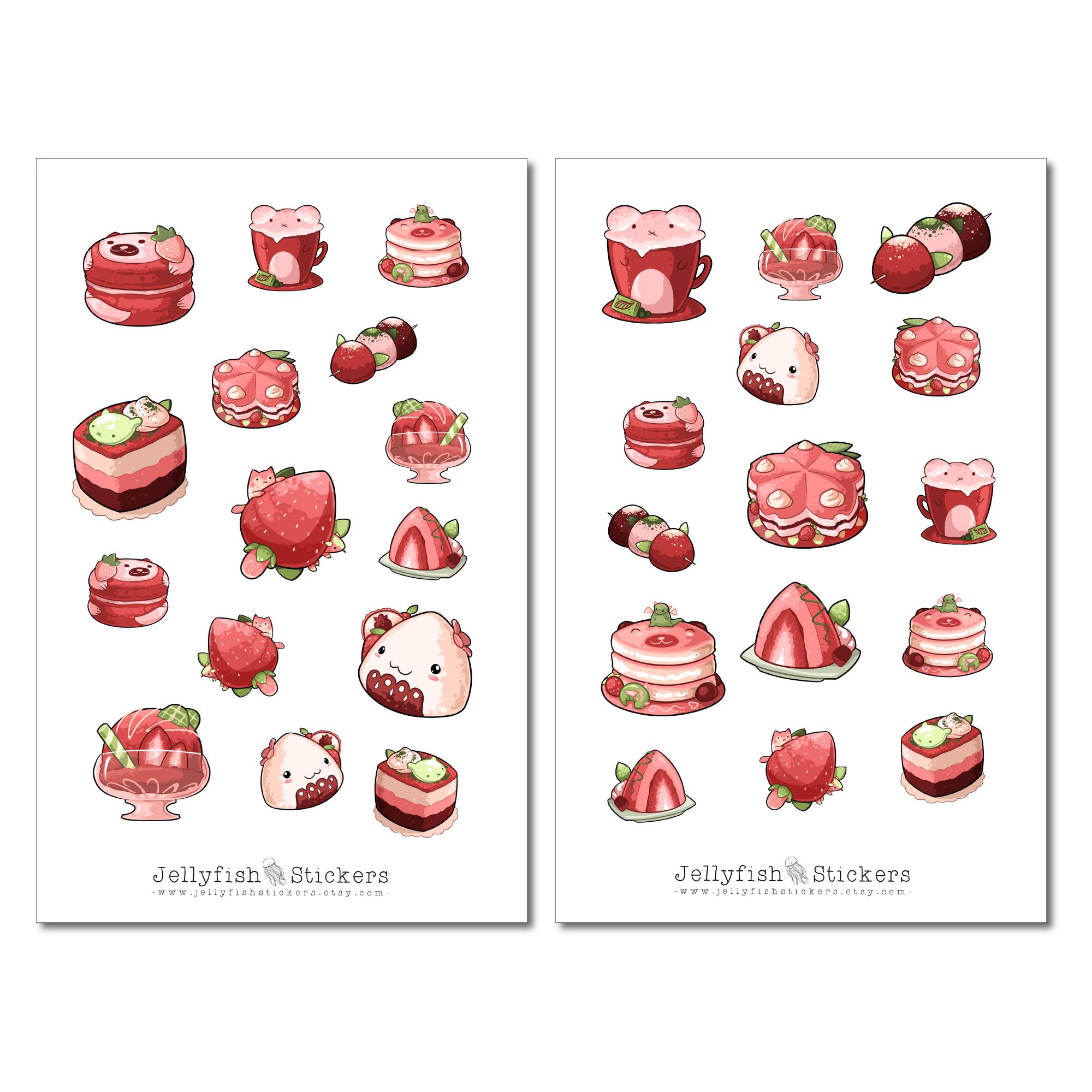 jellyfishstickers  erdbeer desserts sticker set
