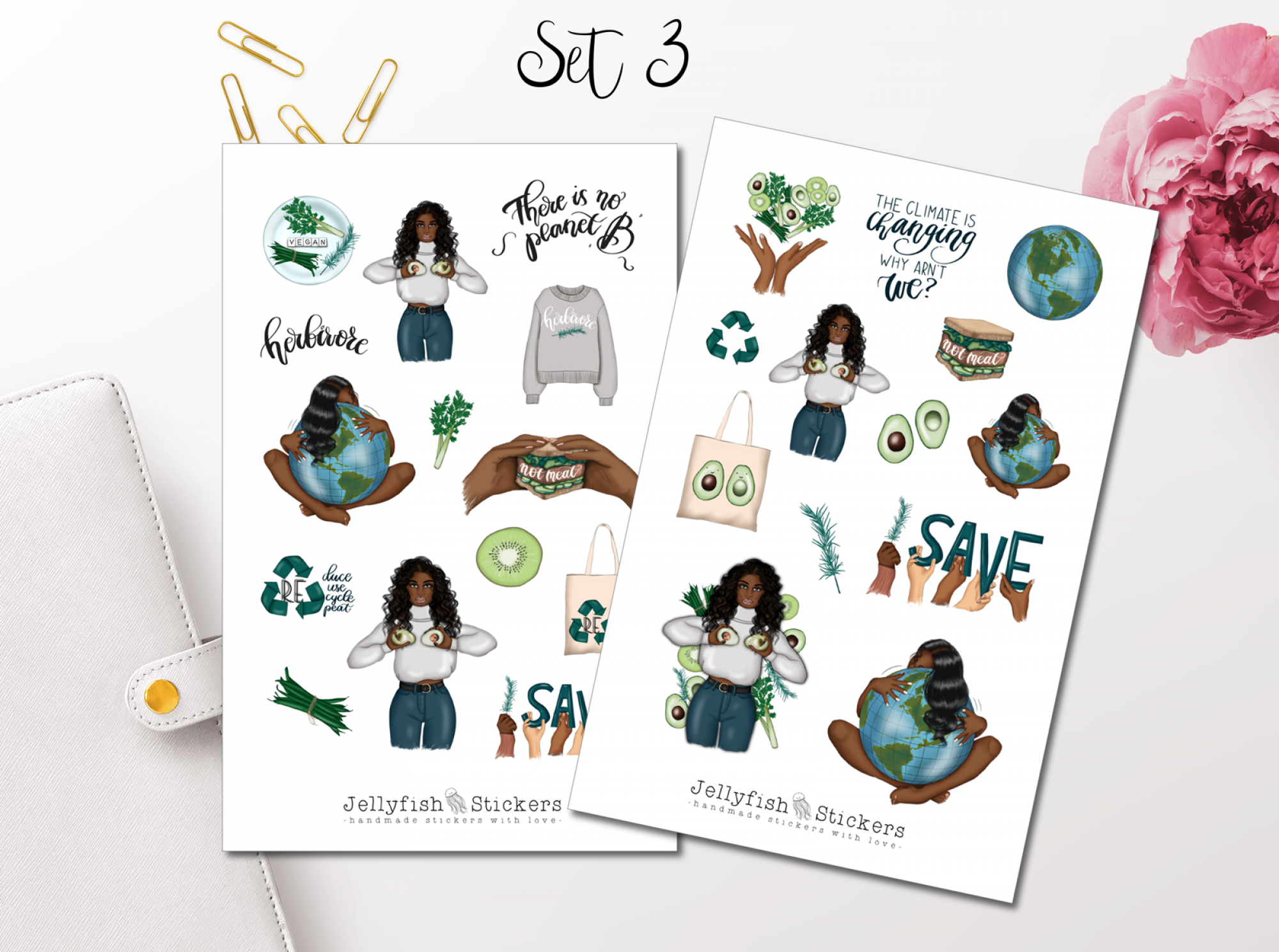 Girl Earth Sticker Set