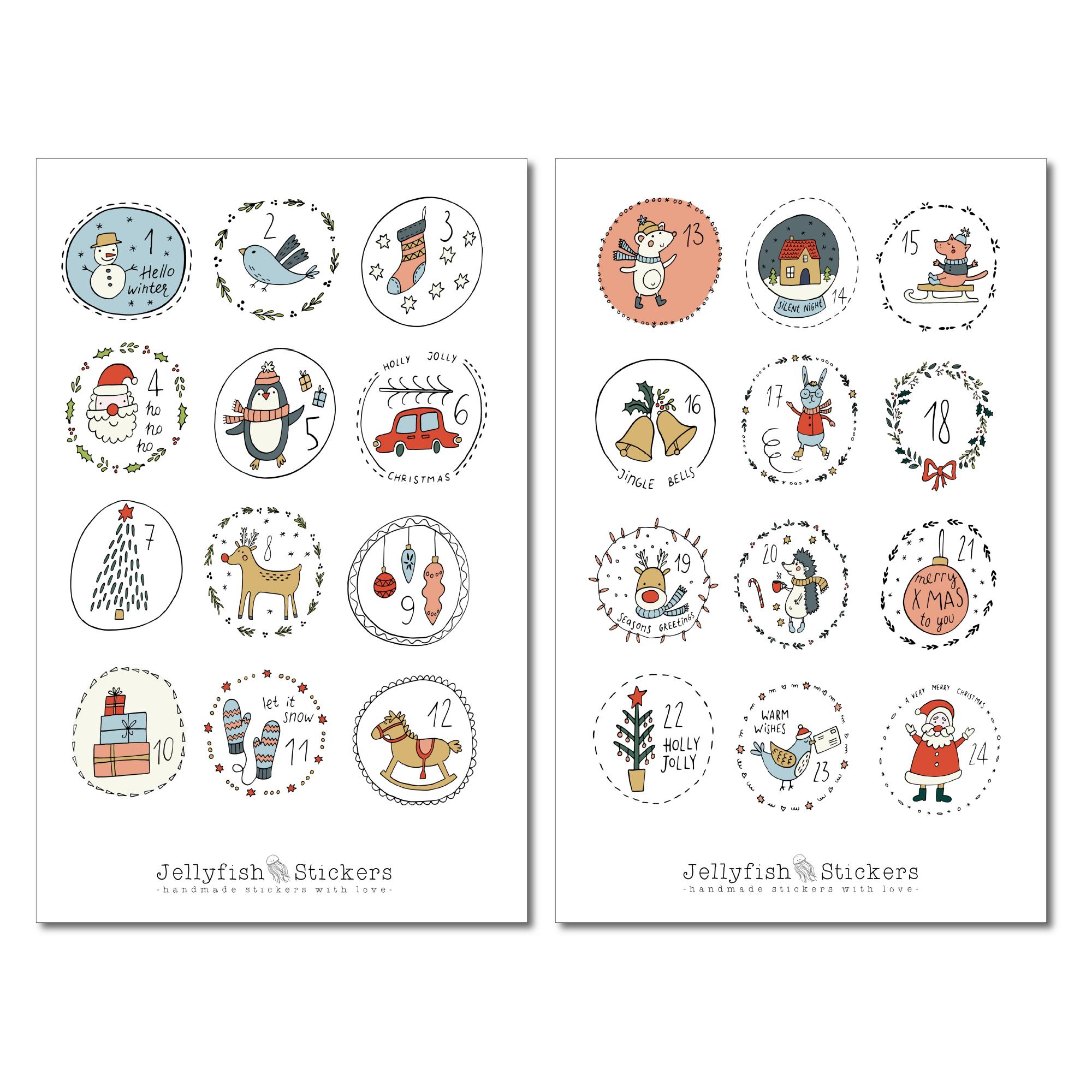 jellyfish stickers  adventskalender sticker set