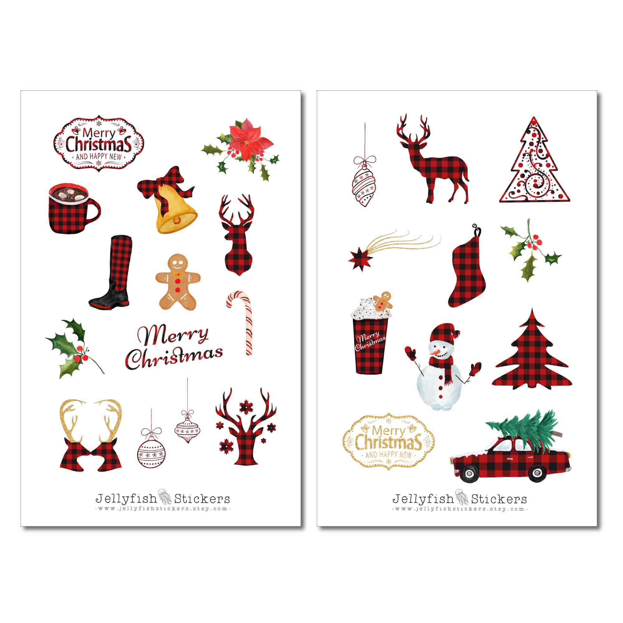 jellyfish stickers  weihnachten sticker set
