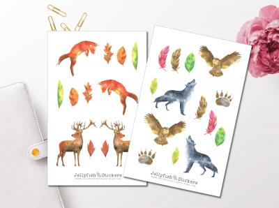 Watercolor Forest Animals Sticker Set
