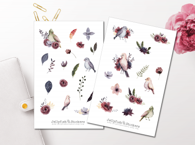 Birds Floral Sticker Set
