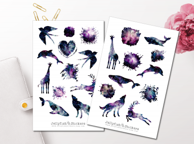 Animals Silhouettes Galaxy Sticker Set