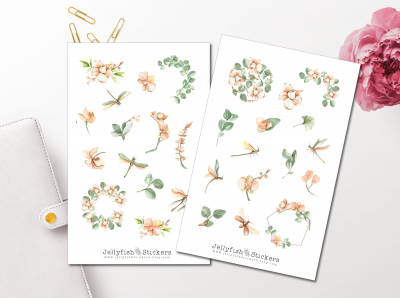 Orchids and Dragonflies Sticker Set