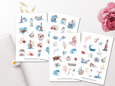 Maritime Watercolor Sticker Set