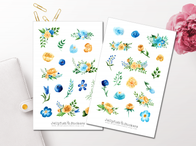 Flowers Blue Yellow Sticker Set