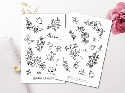 Flowers Black and White Sticker Set