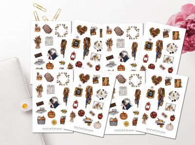 Autumn Girls Sticker Set
