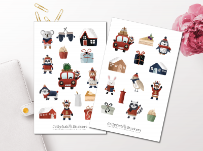 Winter Animals Sticker Set