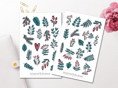 Winter Leaves and Twigs Sticker Set