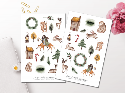 Winter Girl and Animals Sticker Set