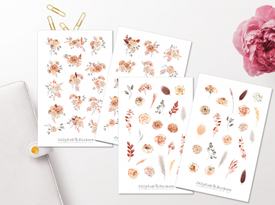 Beige Flowers Sticker Set
