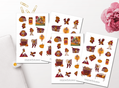 Girls Fall Sticker Set