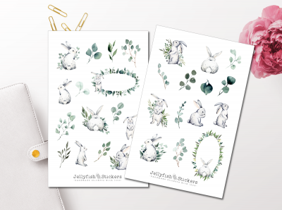 Bunnies and Eucalyptus Sticker Set