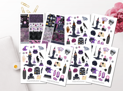 Halloween witch girl sticker set