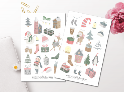 Christmas Girl and Animals Sticker Set