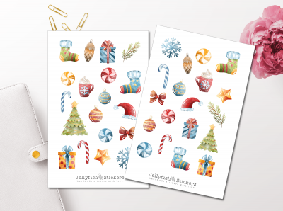 Christmas Watercolor Sticker Set