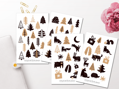 Christmas Trees and Animals Sticker Set